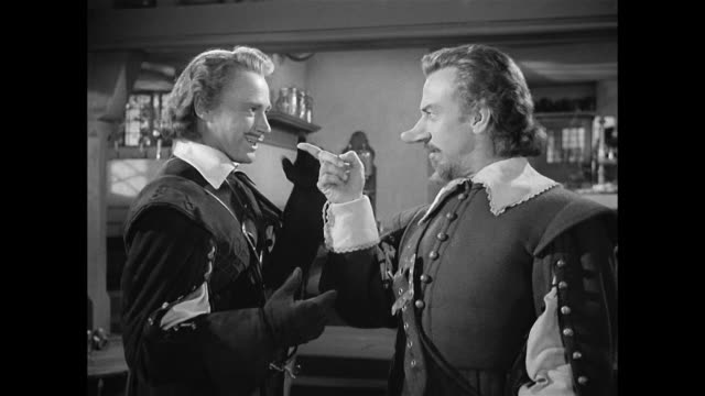 cyrano de bergerac (josé ferrer) and a man (william prince) discuss a woman - 17th century style stock videos & royalty-free footage