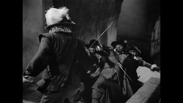 cyrano de bergerac (josé ferrer) fends off a gang - sword stock videos & royalty-free footage