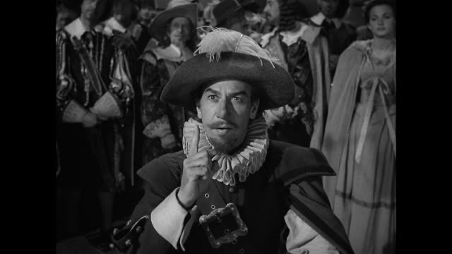 vídeos y material grabado en eventos de stock de cyrano de bergerac (josé ferrer) is responsible for removing an actor from the stage - actor
