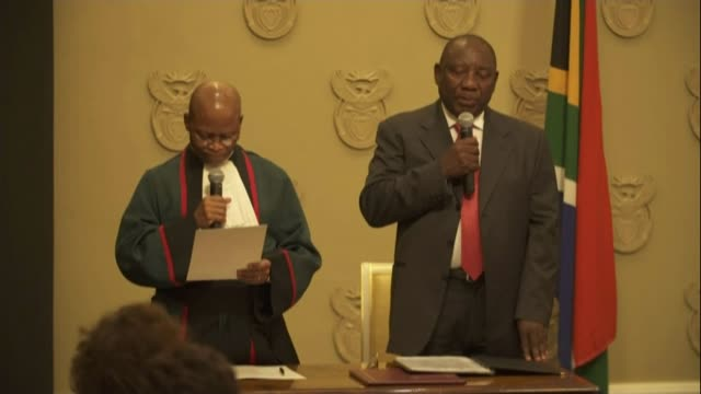 Cyril Ramaphosa sworn in as President and pledges to fight corruption SOUTH AFRICA Cape Town Parliament INT Chief Justice Mogoeng Mogoeng swearing in...