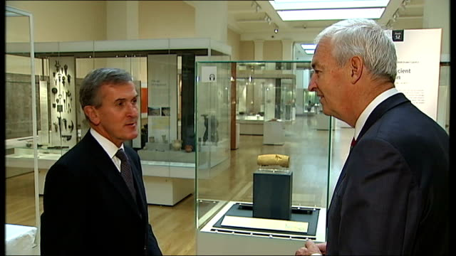 cyrus cylinder returned to british museum from iran england london the british museum int various shots of the cyrus cylinder being taken out of... - curator stock videos & royalty-free footage