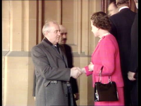 Czar Family Bodies Found EXTWindsor CMS Queen shaking Gorbachev as interpreter R 7489Castle behind BBC