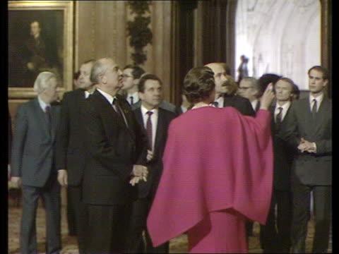 Czar Family Bodies Found Windsor SEQ Queen Elizabeth II shows Soviet ldr R 7489 Castle Mikhail Gorbachev wife Raisa FM BBC Eduard Shevardnadse...