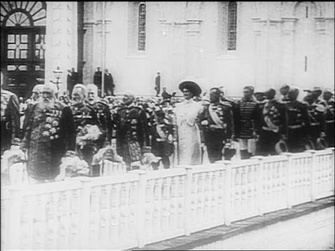 czar nicholas ii family marching in procession with dignitaries / documentary - 1918 stock videos and b-roll footage