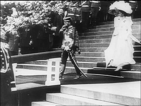 czar nicholas ii of russia family descending stairs as officers salute / documentary - anno 1918 video stock e b–roll