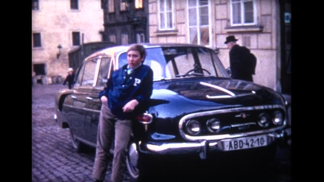 1970 czech antique cars and casual young man - lehnend stock-videos und b-roll-filmmaterial