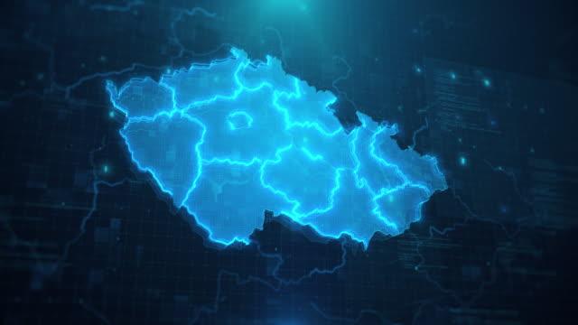 tschechische karte mit regionen vor blauem animiertem hintergrund 4k uhd - tschechische kultur stock-videos und b-roll-filmmaterial