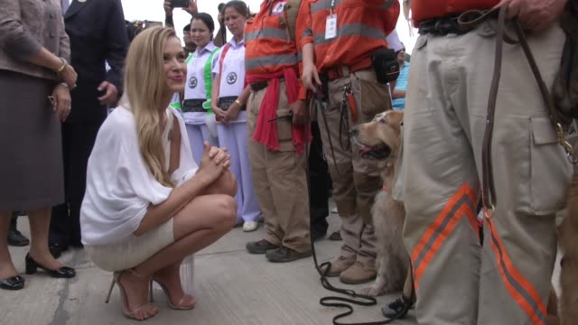 Czech Model and Tsunami survivor Petra Nemcova looks at the rescue dogs at the 10 years after the tsunami memorial services are held at the Police...