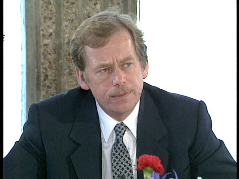 uk visit day 2 01 vaclav havel pkf 2445 havel pkf continued after cameraman changed cassette havel presented with a framed 'charter 88 havel leaving... - autographing stock videos and b-roll footage