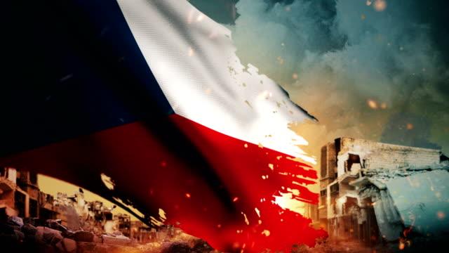 4K Czech Republic Flag - Crisis / War / Fire (Loop)