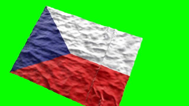 Czech stadium flag. Waving on green screen