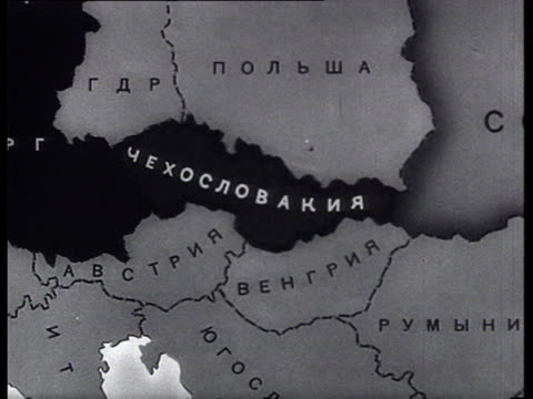 map of eastern europe cu french and american newspaper articles on this issue - 1968 stock-videos und b-roll-filmmaterial