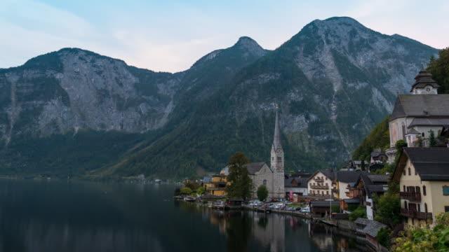 d2n:hallstatt mountain village landscape ,timelapse - traditionally austrian stock videos & royalty-free footage