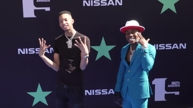 dababy and stunna 4 vegas at the 2019 bet awards at microsoft theater on june 23 2019 in los angeles california - black entertainment television stock videos & royalty-free footage