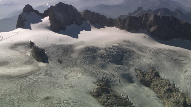 aerial dachstein mountains, styria, austria - dachstein mountains stock videos and b-roll footage