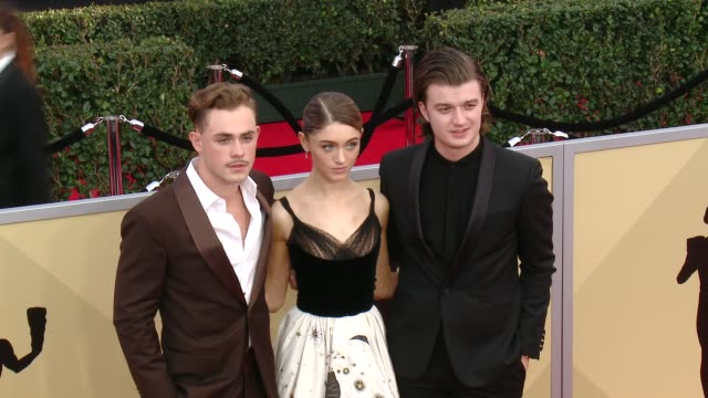 Dacre Montgomery Natalia Dyer and Joe Keery at the 24th Annual Screen Actors Guild Awards at The Shrine Auditorium on January 21 2018 in Los Angeles...