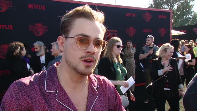 INTERVIEW Dacre Montgomery on how it felt to reunite with the cast to film this season at the Stranger Things Season 3 World Premiere in Los Angeles...