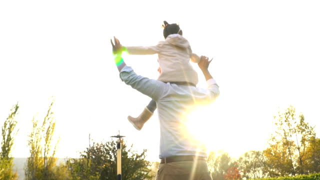vídeos de stock e filmes b-roll de dad and baby girl playing together outdoors - cavalitas
