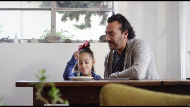 dad and daughter having breakfast together - modern manhood stock videos & royalty-free footage