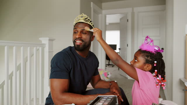 dad and daughter playtime dress-up and putting on makeup - one parent stock videos & royalty-free footage