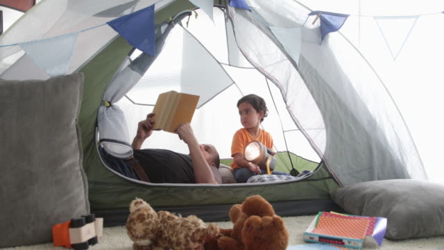 dad and son reading in fort. - one parent stock videos & royalty-free footage