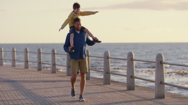 dad, do you think i can fly? - boardwalk stock videos & royalty-free footage
