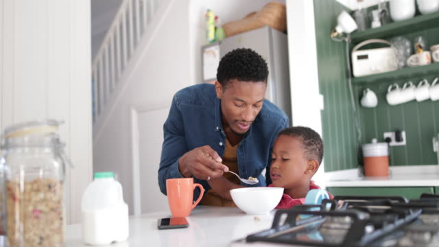 dad helping son with breakfast - spoon stock videos and b-roll footage