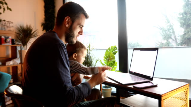 dad using laptop and holding his baby son - serbia stock videos & royalty-free footage