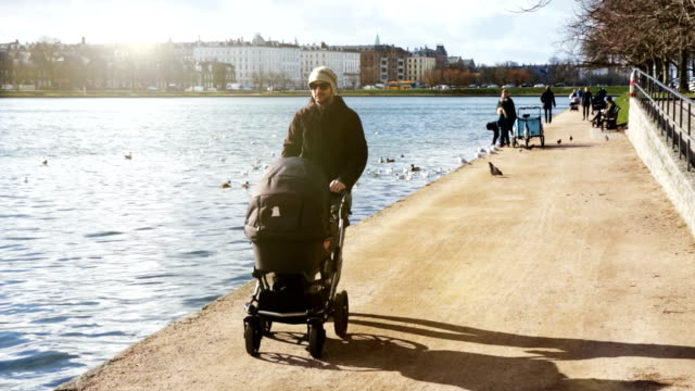dad waling with pram - copenhagen stock videos & royalty-free footage