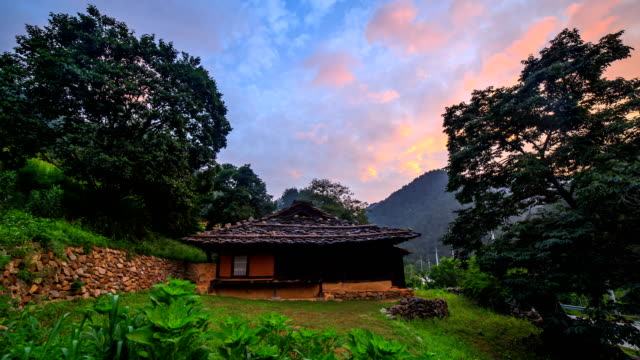 daeiri shingled house at sunset / dogye-eup, samcheok-si, gangwon-do, south korea - rustic stock videos & royalty-free footage