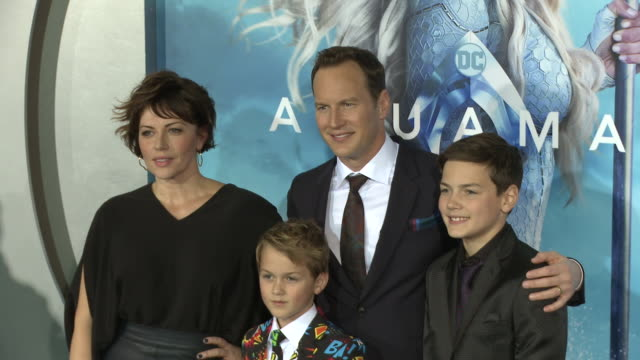 """dagmara domińczyk, kassian mccarrell wilson, patrick wilson and kalin patrick wilson at the """"aquaman"""" premiere at tcl chinese theatre on december 12,... - tcl chinese theatre stock videos & royalty-free footage"""