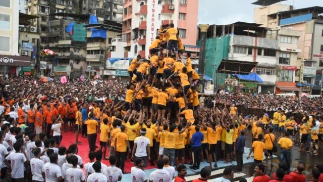 dahi handi celebrations on the occasion of janmashtmi, mumbai, india. - september stock videos and b-roll footage
