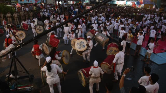 dahi handi celebrations on the occasion of janmashtmi, mumbai, india. - practicing stock videos & royalty-free footage