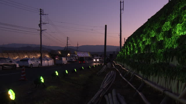 Daikon-yagura (large frames for drying giant radishes) lit up at nighttime in Kagoshima, Japan