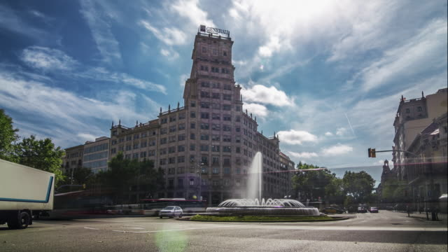Daily city traffic timelapse at Passeig de Gracia in Barcelona, Spain.