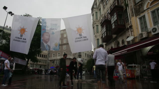 Daily life and election campaign in Istanbul Turkey on Sunday June 3 2018