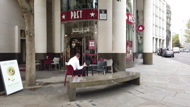 daily life in the city of london including closed pret a manger in london uk on monday september 7 2020 - fountain stock videos & royalty-free footage