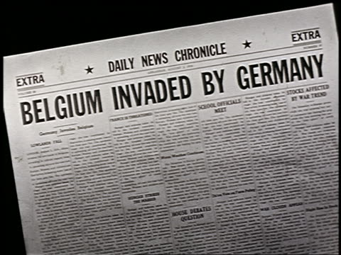 daily news chronicle newspaper headline: belgium invaded by germany / start of wwi - 1914 stock videos & royalty-free footage