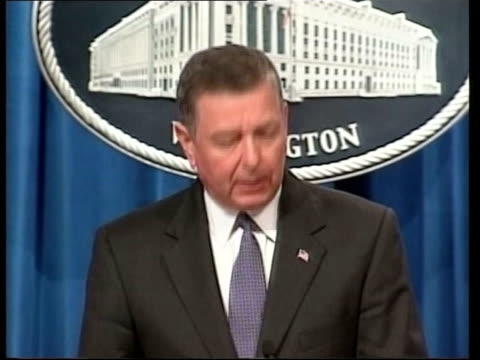 daily round-up of events; pool via aptn usa: washington: ministry of justice: int john ashcroft into press conference and speaking at podium sot -... - attorney general stock videos & royalty-free footage