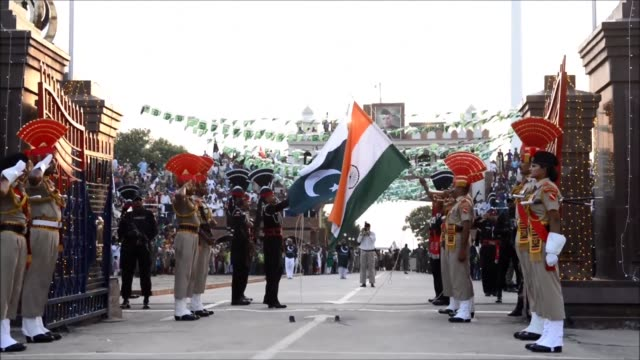 A daily traditional ceremony takes place at the India Pakistan Wagah border post as India celebrates the 70th anniversary of the end of British...