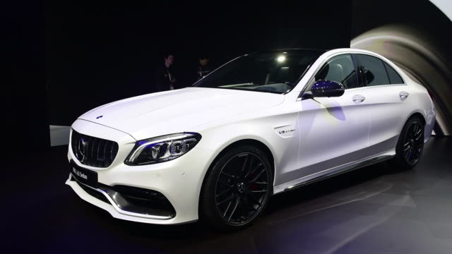 daimler ag mercedesbenz amg c 63 sedan vehicle is seen during the 2018 new york international auto show in new york us on thursday march 29 2018 - mercedes benz stock videos & royalty-free footage