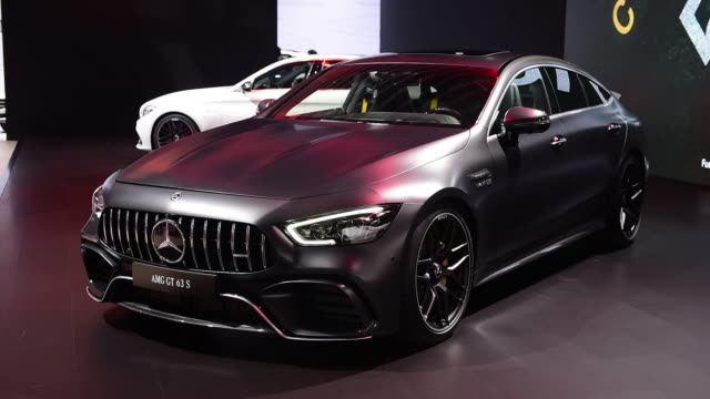 Daimler AG MercedesBenz AMG GT 63 S sports coupe is seen during the 2018 New York International Auto Show in New York US on Thursday March 29 2018