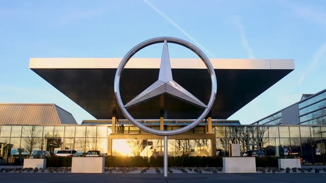 daimler ag mercedesbenz emblem is seen at the mercedesbenz plant on january 24 2018 in sindelfingen germany daimler ag which owns the mercedesbenz... - mercedes benz stock videos & royalty-free footage