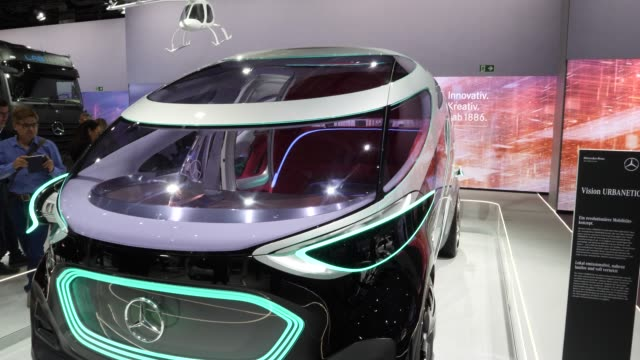 daimler vision urbanetic van stands among vehicles on display at the annual daimler ag shareholders meeting on may 22, 2019 in berlin, germany.... - annual general meeting stock videos & royalty-free footage