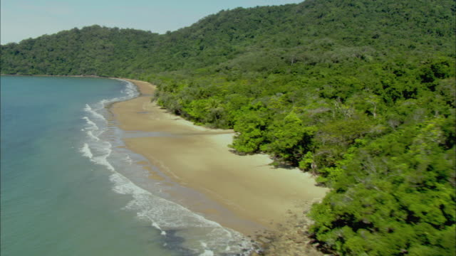 ws zi cu aerial daintree coastline and beach, cairns, queensland, australia - rainforest stock videos & royalty-free footage