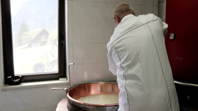 dairy product farmer mixing making cheese - lab coat stock videos & royalty-free footage