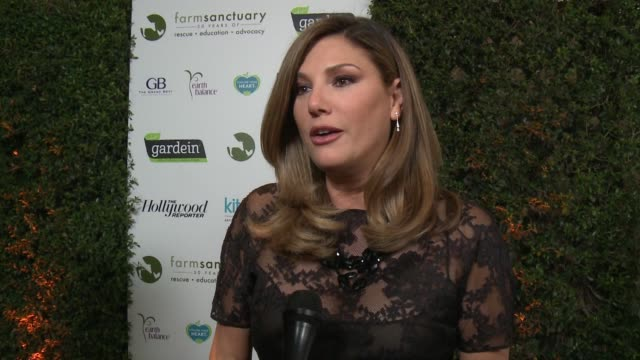 interview daisy fuentes on supporting farm sanctuary on what brings her out tonight at farm sanctuary's 30th anniversary gala in los angeles ca - daisy fuentes stock videos & royalty-free footage
