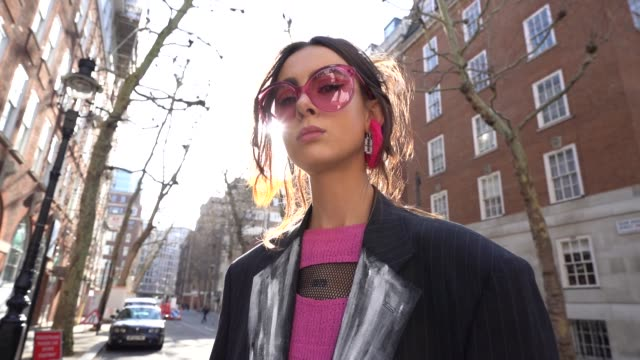 daisy mae at london fashion week february 2019 - street style on february 15, 2019 in london, united kingdom. - street style stock videos & royalty-free footage