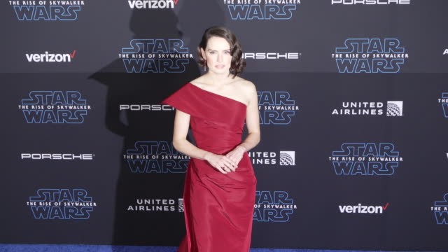 "daisy ridley at the premiere of disney's ""star wars: the rise of skywalker"" - premiere stock videos & royalty-free footage"