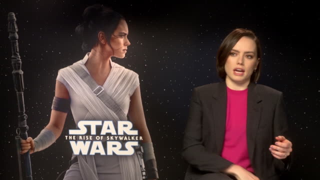 """daisy ridley interview for the """"star wars: the rise of skywalker"""" presentation in madrid - star wars stock videos & royalty-free footage"""